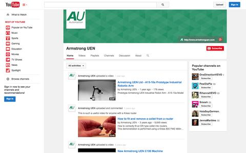 Screenshot of YouTube Page youtube.com - Armstrong UEN  - YouTube - captured Oct. 23, 2014