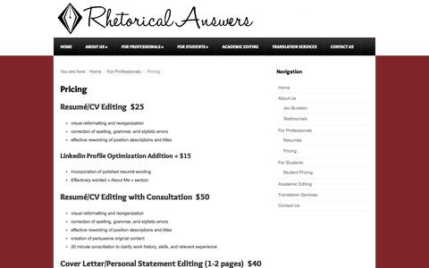 Screenshot of Pricing Page rhetorical-answers.com - Pricing - captured Oct. 9, 2014