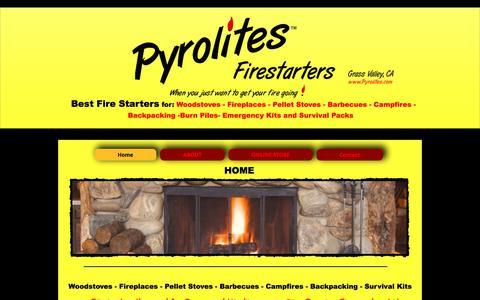 Screenshot of Home Page pyrolites.com - Pyrolites Firestarters,Best Fire starters, fire starters, fireplace fi - captured July 8, 2018
