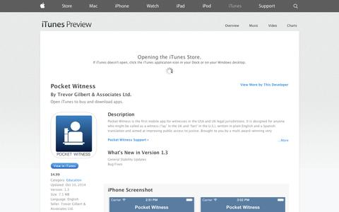 Screenshot of iOS App Page apple.com - Pocket Witness on the App Store on iTunes - captured Nov. 5, 2014