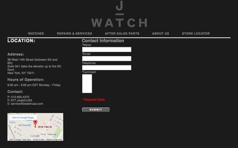 Screenshot of Contact Page jwatchusa.com - JWatch USA LLC - captured Oct. 29, 2014