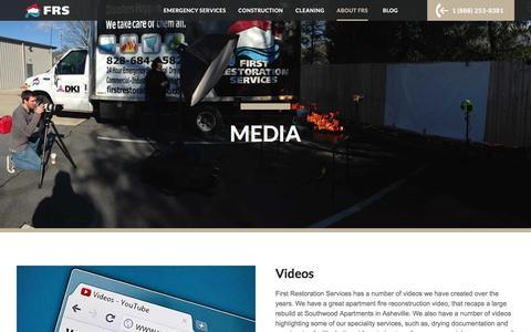 Screenshot of Press Page frs247.com - Media   Videos l Blog l First Restoration Services - captured Nov. 25, 2016