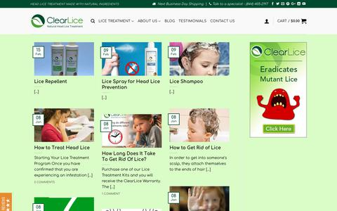 Screenshot of Blog clearlice.com - Lice Treatment and Shampoo. Helps Get Rid of Lice. ClearLice - captured July 18, 2018