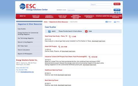 Screenshot of Case Studies Page escenter.org - Case Studies - captured Jan. 29, 2016
