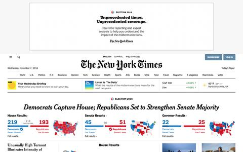Screenshot of Home Page nytimes.com - Breaking News, World News & Multimedia - The New York Times - captured Nov. 7, 2018
