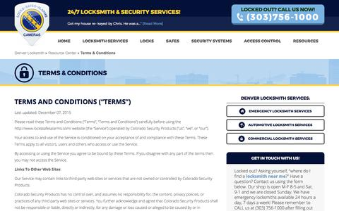 Screenshot of Terms Page lockssafesalarms.com - Terms & Conditions - Colorado Security Products - captured Aug. 13, 2017