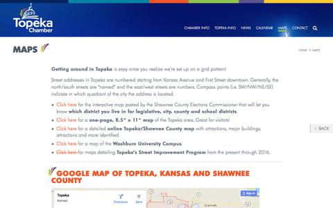 Screenshot of Maps & Directions Page topekachamber.org - Maps - Greater Topeka Chamber of Commerce - captured July 12, 2017