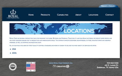 Screenshot of Locations Page royalcase.com - Locations - Royal Case Company, Inc. - captured Aug. 15, 2015