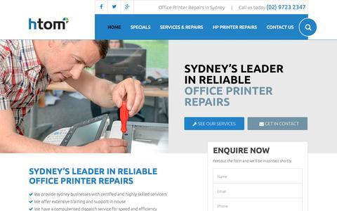 Screenshot of Home Page sydney-printerrepairs.com.au - Sydney Laser Printer & Photocopier Repairs | Printer Maintenance Sydney - captured April 3, 2016