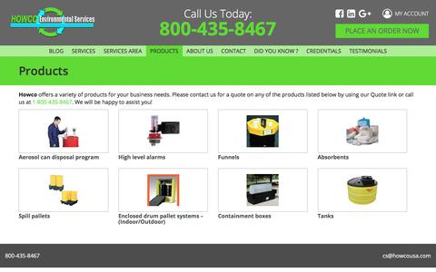 Screenshot of Products Page howcousa.com - Products – Howco USA - captured July 10, 2017