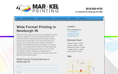 Screenshot of Contact Page markelprinting.com - Wide Format Printing in Newburgh IN, Wide Format Printing Service in Newburgh IN | - captured Dec. 17, 2015