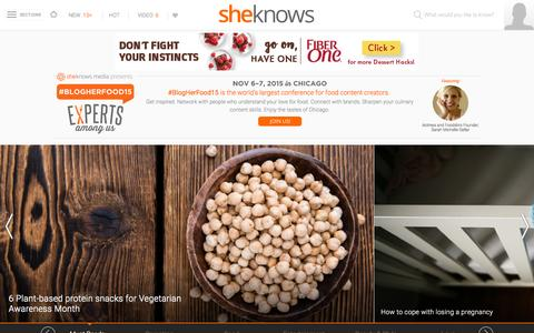 Screenshot of Home Page sheknows.com - SheKnows | Entertainment, Recipes, Parenting & Love Advice - captured Oct. 14, 2015