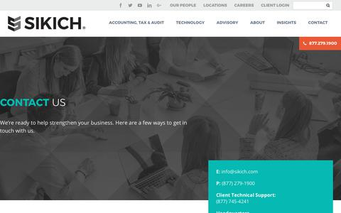 Screenshot of Contact Page sikich.com - Contact - Sikich LLP - captured Oct. 12, 2017