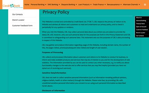 Screenshot of Privacy Page creditbank.co.ke - Privacy Policy - Credit Bank Ltd | Credit Bank Ltd - captured May 21, 2016