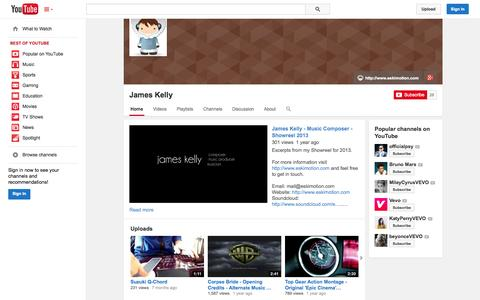 Screenshot of YouTube Page youtube.com - James Kelly  - YouTube - captured Oct. 22, 2014