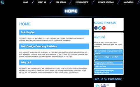Screenshot of Home Page softdevsol.com - Soft DevSol - A Software and Web Design Company - captured Sept. 23, 2014