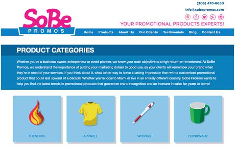 Screenshot of Products Page sobepromos.com - Custom Promotional Products Miami, FL : Sobe Promos - captured July 21, 2017