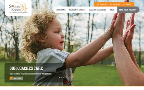 Screenshot of Home Page soccershots.org - Soccer Shots - The Children's Soccer Experience - captured Dec. 29, 2015