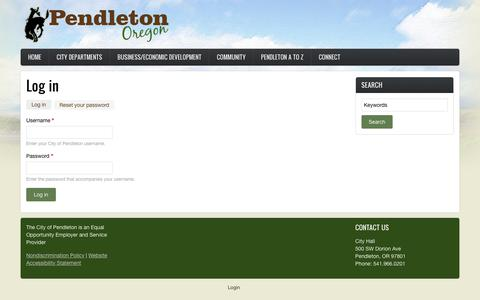 Screenshot of Login Page pendleton.or.us - Log in | City of Pendleton - captured Nov. 10, 2018