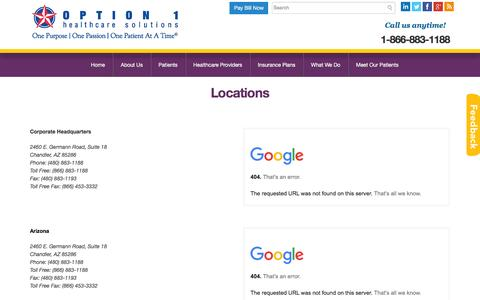 Screenshot of Locations Page option1nutrition.com - Contact Us-Locations | Option 1 Healthcare Solutions - captured Feb. 23, 2016