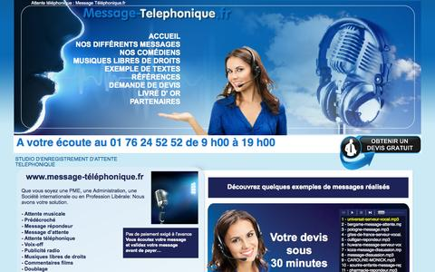 Screenshot of Home Page message-telephonique.fr - Attente musicale téléphonique, message répondeur téléphonique professionnel, pré-décroché - captured Sept. 7, 2015