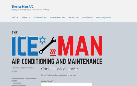 Screenshot of Home Page theicemanair.ca - Contact us for service - The Ice Man A/C - captured May 29, 2019