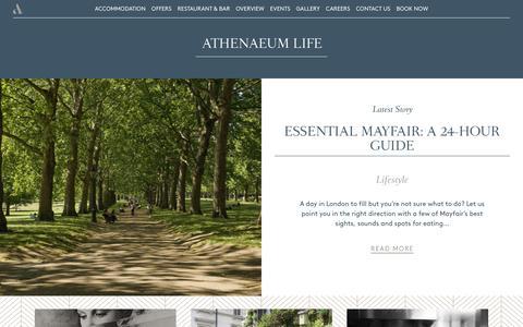 Screenshot of Blog athenaeumhotel.com - The Athenaeum | Athenaeum Life - captured Nov. 14, 2016