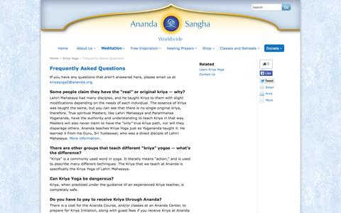Screenshot of FAQ Page ananda.org - Frequently Asked Questions - Ananda Sangha Worldwide - captured Sept. 19, 2014