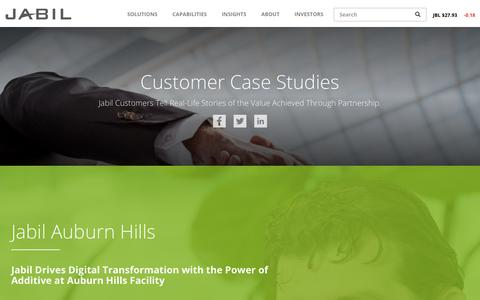 Screenshot of Case Studies Page jabil.com - Case Studies | Jabil - captured May 19, 2018