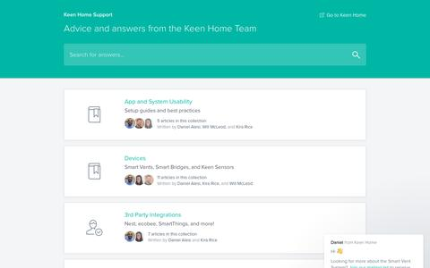 Screenshot of Support Page keenhome.io - Keen Home Support - captured Oct. 29, 2017
