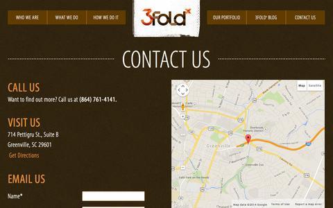 Screenshot of Contact Page 3foldx.com - Contact Us - 3Fold Creative - captured Oct. 27, 2014