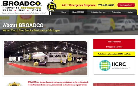 Screenshot of About Page broadcoinc.com - Learn about Broadco Property Restoration of Clinton Township MI - captured Feb. 7, 2016