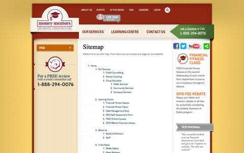 Screenshot of Site Map Page moneymentors.ca - Credit Counselling Agency Sitemap - Money Mentors - captured Oct. 26, 2014