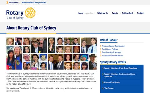 Screenshot of About Page sydneyrotary.com - Rotary Club of Sydney - About us - captured June 14, 2016