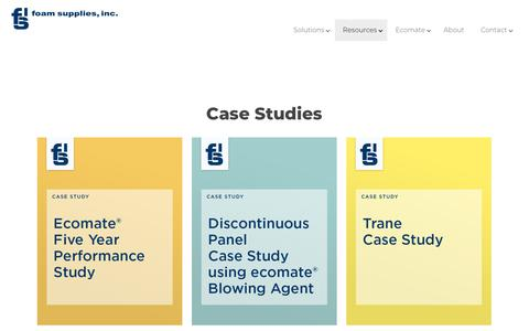 Screenshot of Case Studies Page foamsupplies.com - The Case Studies prove it - our foam supplies help you achieve results - captured Oct. 10, 2018