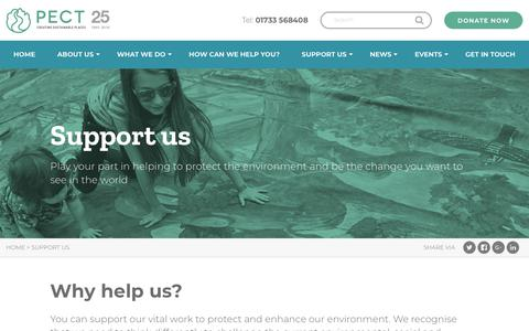 Screenshot of Support Page pect.org.uk - Peterborough Environment City Trust Support our work - PECT - captured Sept. 27, 2018