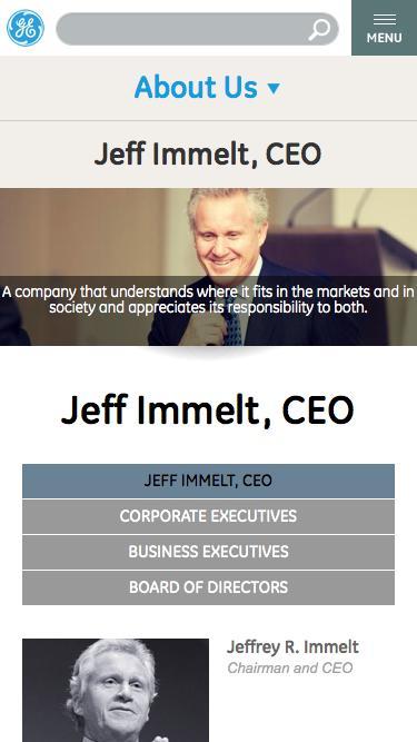 Screenshot of Team Page  ge.com - Jeff Immelt, CEO | GE.com