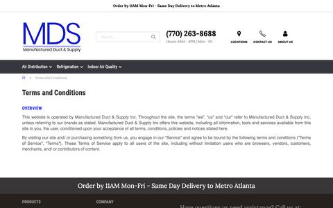 Screenshot of Terms Page mdshvac.com - Terms and Conditions - captured Oct. 1, 2018