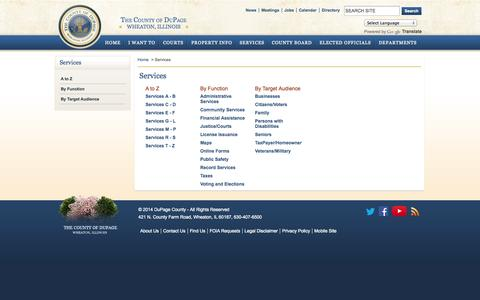 Screenshot of Services Page dupageco.org - DuPage County IL Official Website - Services - captured Sept. 19, 2014