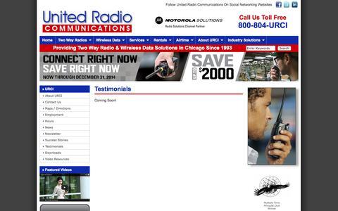 Screenshot of Testimonials Page urci.com - Testimonials Motorola Vertex Standard Two Way Radio Dealer Chicago Illinois United Radio Communications, Inc. - captured Oct. 27, 2014