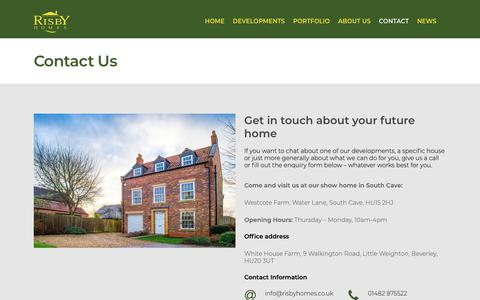 Screenshot of Contact Page risbyhomes.co.uk - Contact | Risby Homes residential property development - captured Oct. 18, 2018