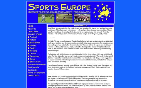Screenshot of Testimonials Page sports-europe.co.uk - Sports Europe - Testimonials - captured Aug. 15, 2016