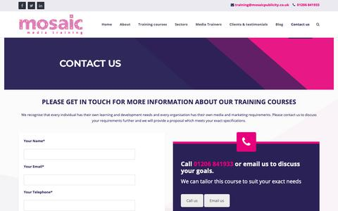 Screenshot of Contact Page mosaicmediatraining.co.uk - Contact Mosaic Media Training - captured Oct. 20, 2018