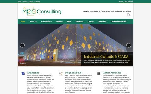 Screenshot of Home Page mpcconsulting.net - MPC Consulting – Your one stop shop for instrumentation and control systems, water and wastewater systems, and custom control panels - captured Oct. 4, 2014