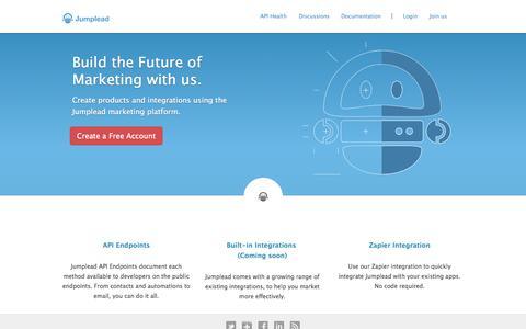Screenshot of Developers Page jumplead.com - Marketing API | Jumplead Marketing Automation Platform API - captured Sept. 19, 2014