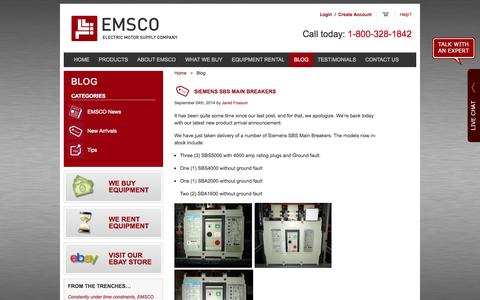 Screenshot of Blog emscomn.com - Electrical Equipment News & Company Highlights | EMSCO Blog - captured Oct. 2, 2014