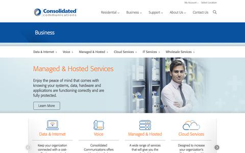 Screenshot of consolidated.com - Data & Internet, Voice, Cloud Services, Managed & Hosted, IT Services, Wholesale Services | Consolidated Communications - captured April 7, 2016
