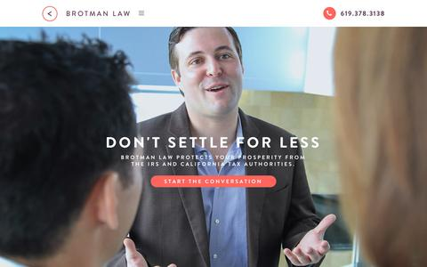 Screenshot of Home Page sambrotman.com - San Diego Tax Attorney and Lawyer Firm - Brotman Law - captured Sept. 29, 2015