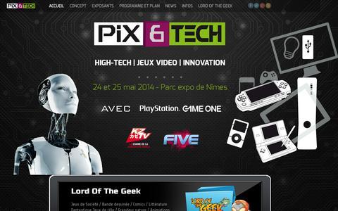 Screenshot of Home Page pixandtech.com - Pix and Tech - High-Tech | Jeu Video | Innovation - captured Sept. 29, 2014