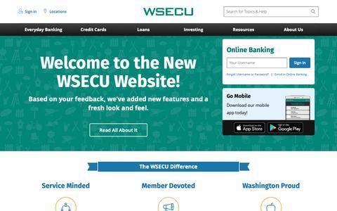 Screenshot of Home Page wsecu.org - WSECU   WSECU - captured Nov. 7, 2018